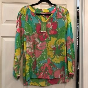 Lilly Pulitzer Silk Long Sleeve Top New Medium
